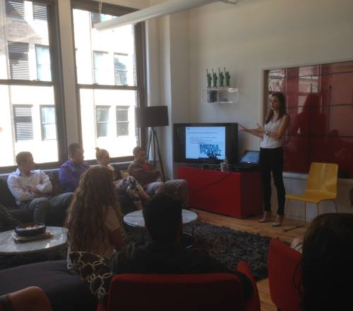 Jacqueline Lisk leading a discussion on content marketing trends at Mediaplanet's headquarters in New York