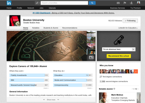 Boston University's LinkedIn Page